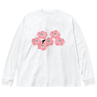 花とサメ / ヨコ Big silhouette long sleeve T-shirts