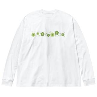緑色のレトロなお花 Big silhouette long sleeve T-shirts