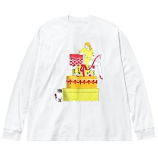 密かな楽しみ Big silhouette long sleeve T-shirts