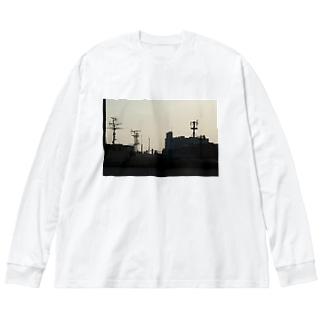 夕方の街のシルエット Big silhouette long sleeve T-shirts