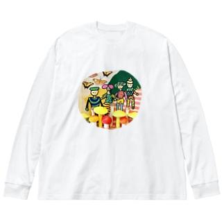 菌ピクニック Big silhouette long sleeve T-shirts