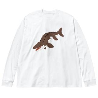 モササウルスブラウン Big silhouette long sleeve T-shirts