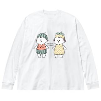 トロピカル Big silhouette long sleeve T-shirts