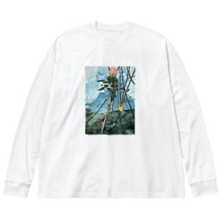 トゲのある絵 Big silhouette long sleeve T-shirts