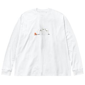 みざるきかざるいわざるらっこ Big silhouette long sleeve T-shirts