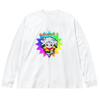 POISONCHARM電脳露店2号の荒ぶるヒツジのポーズ Big silhouette long sleeve T-shirts