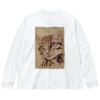 オセロット Big silhouette long sleeve T-shirts