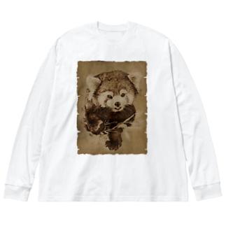 レッサーパンダ Big silhouette long sleeve T-shirts