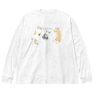 リラックスCATS. Big silhouette long sleeve T-shirts