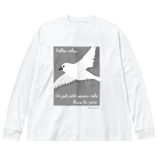 文鳥のつばさ グレー Big silhouette long sleeve T-shirts