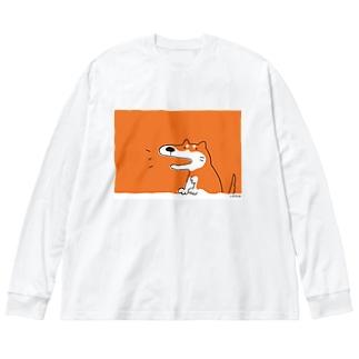 いぬの しばさん Big silhouette long sleeve T-shirts