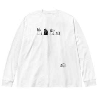 コケギンポ5兄弟(白黒) Big silhouette long sleeve T-shirts