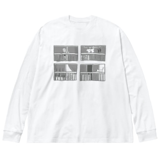 夜のベランダ Big silhouette long sleeve T-shirts