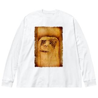 魔導師の猫 Big silhouette long sleeve T-shirts