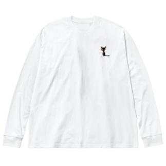 黒猫ムーン NEW Big silhouette long sleeve T-shirts