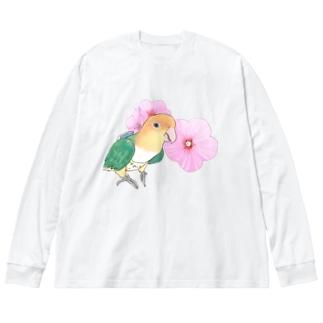 お花とシロハラインコちゃん【まめるりはことり】 Big silhouette long sleeve T-shirts