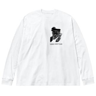 NIKKA SHOT BAR 黒ロゴ Big silhouette long sleeve T-shirts
