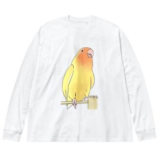 得意げ可愛い コザクラインコちゃん【まめるりはことり】 Big silhouette long sleeve T-shirts