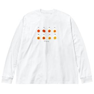 ゆで卵Time Big silhouette long sleeve T-shirts
