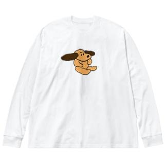 ちゃいろ犬 Big silhouette long sleeve T-shirts