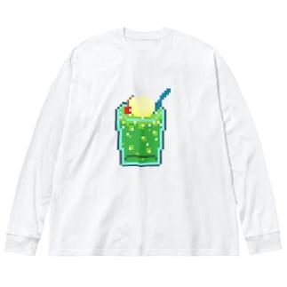 ドッド画メロンクリームソーダ Big silhouette long sleeve T-shirts