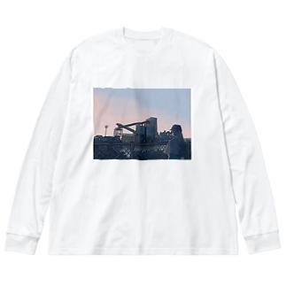 ぴっぱらの滑り台って信じてた Big silhouette long sleeve T-shirts