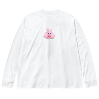 オバケうさぎ Big silhouette long sleeve T-shirts