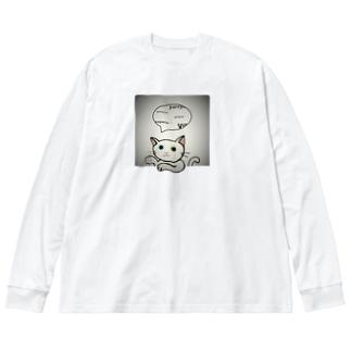 ゆる猫オッド シルバー Big silhouette long sleeve T-shirts