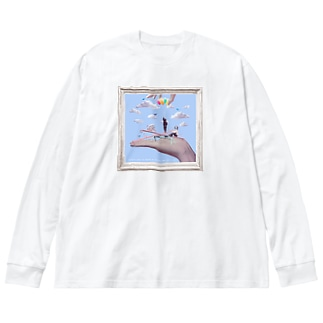 Marionette(flame-B) Big silhouette long sleeve T-shirts