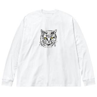 グレーねこのいちごちゃん Big silhouette long sleeve T-shirts