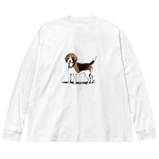 ビーグルのラッピーさん Big silhouette long sleeve T-shirts
