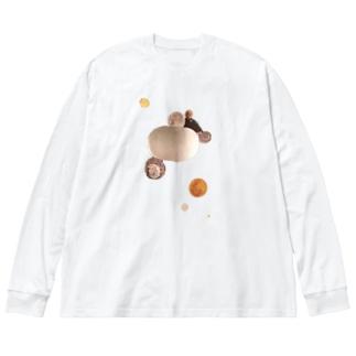 アシタノコルビジェくん Big silhouette long sleeve T-shirts