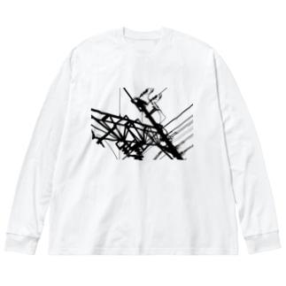 電線 Big silhouette long sleeve T-shirts