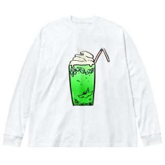 メロンクリームソーダの海で泳ぐ文鳥 Big silhouette long sleeve T-shirts