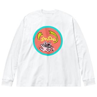 ぶひぶひんちゃん Big silhouette long sleeve T-shirts