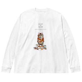 トラになりたいネコ Big silhouette long sleeve T-shirts