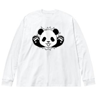 🐼貫通パンダ Big silhouette long sleeve T-shirts