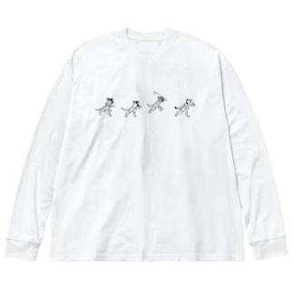 ぎんぺーのしっぽのサバンナ鳥獣戯画 Big Silhouette Long Sleeve T-Shirt