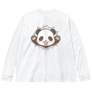 🐼かんつーパンダ Big silhouette long sleeve T-shirts