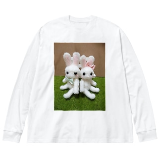 ふわふわうさちゃん Big silhouette long sleeve T-shirts