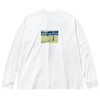初めてのサッカー Big silhouette long sleeve T-shirts