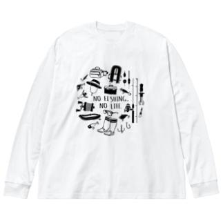 (釣りざんまい)釣りに行こうか Big silhouette long sleeve T-shirts
