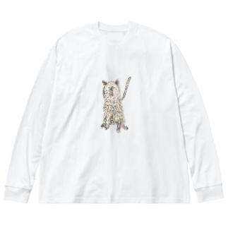 やっちゃんの描いたチョコ Big silhouette long sleeve T-shirts