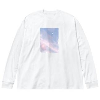 夏の空 いちごシロップ🍓 Big silhouette long sleeve T-shirts