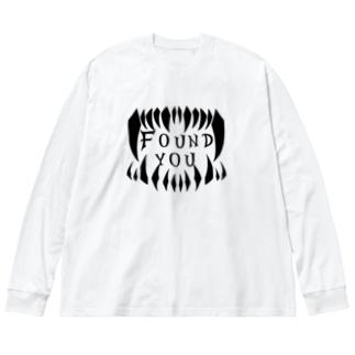 見つけた モノクロ Big silhouette long sleeve T-shirts