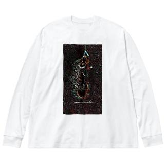 Akieem Zawadi's SHOPのSurfing  on the Milky Way Big silhouette long sleeve T-shirts