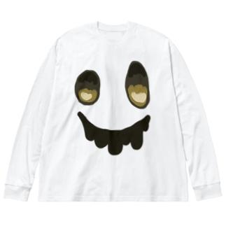 カラフルお化け Big silhouette long sleeve T-shirts