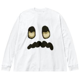 怖がりお化け Big silhouette long sleeve T-shirts