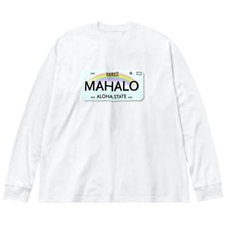 ハワイナンバープレート・MAHALOちゃん Big silhouette long sleeve T-shirts