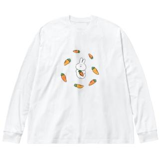 夕飯のことを考えてるうさぎ Big silhouette long sleeve T-shirts